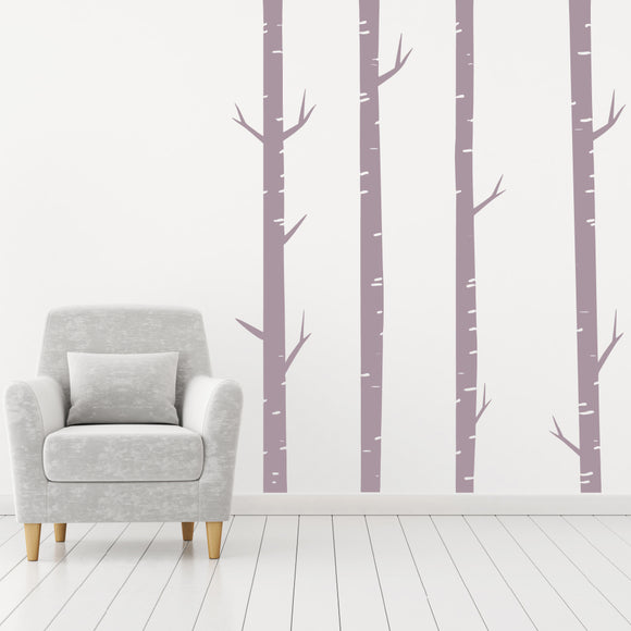 Set of four Birch Trees | Wall Decal | Wall Art | Adnil Creations