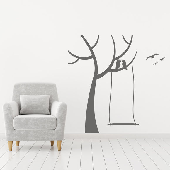 Tree with swing and birds | Wall Decal