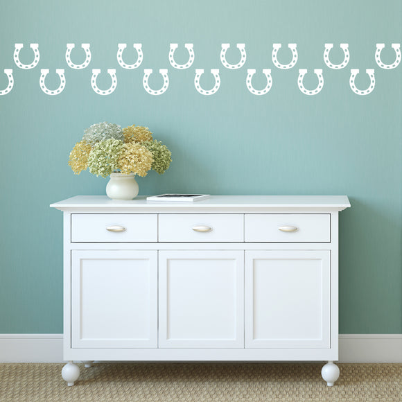 Set of 50 Horseshoe Wall Stickers | 4 sizes available to choose from | Repeating Pattern | Adnil Creations