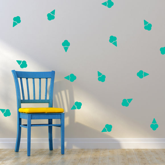 Set of 50 Ice Cream Wall Stickers | 4 sizes available to choose from | Repeating Pattern | Adnil Creations