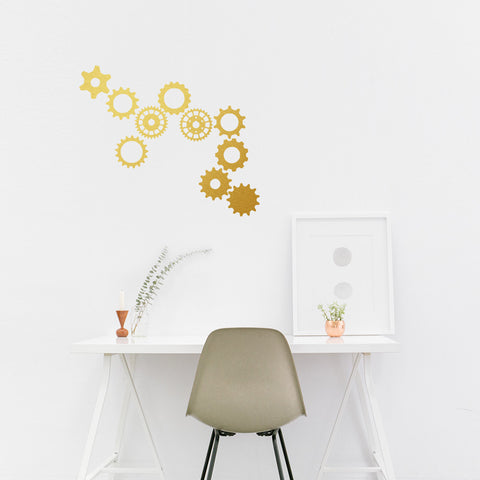 Set of 50 Steampunk Cog Wall Stickers - 3 sizes available to choose from