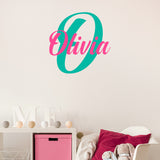 Simple two colour monogram decal | Girl's bedroom