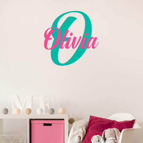 Simple two colour monogram | Girl's bedroom