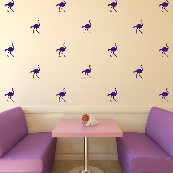 Set of 50 Ostrich Wall Stickers | 3 sizes available to choose from | Repeating Pattern | Adnil Creations