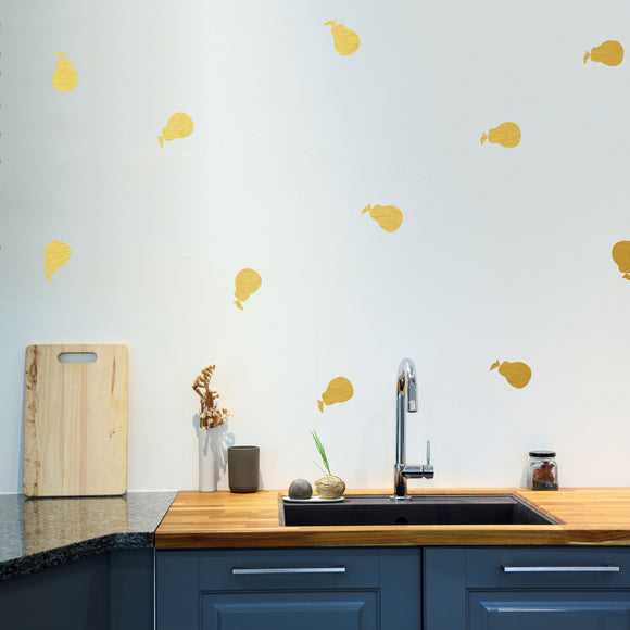 Set of 50 Pear Wall Stickers | 5 sizes available to choose from | Repeating Pattern | Adnil Creations