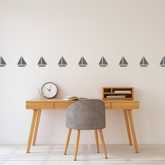 Set of 50 Sailboat Wall Stickers | 3 sizes available to choose from | Repeating Pattern | Adnil Creations