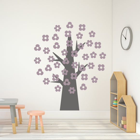 Simple tree with 40 Flowers | Wall Decal