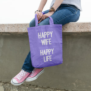 Happy wife happy life | 100% Cotton Tote Bag | Tote Bag | Adnil Creations