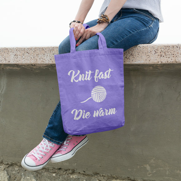 Knit fast die warm | 100% Cotton Tote Bag