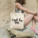C'est La Vie | 100% Cotton Tote Bag | Tote Bag | Adnil Creations