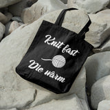 Knit fast die warm | 100% Cotton Tote Bag | Tote Bag | Adnil Creations