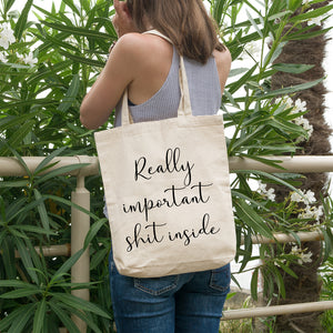 Really important shit inside | 100% Cotton Tote Bag | Tote Bag | Adnil Creations