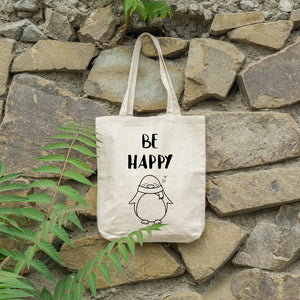 Be happy penguin | 100% Cotton Tote Bag | Tote Bag | Adnil Creations