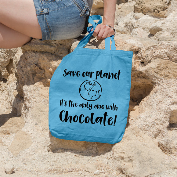 Save our planet it's the only one with chocolate | 100% Cotton Tote Bag | Tote Bag | Adnil Creations