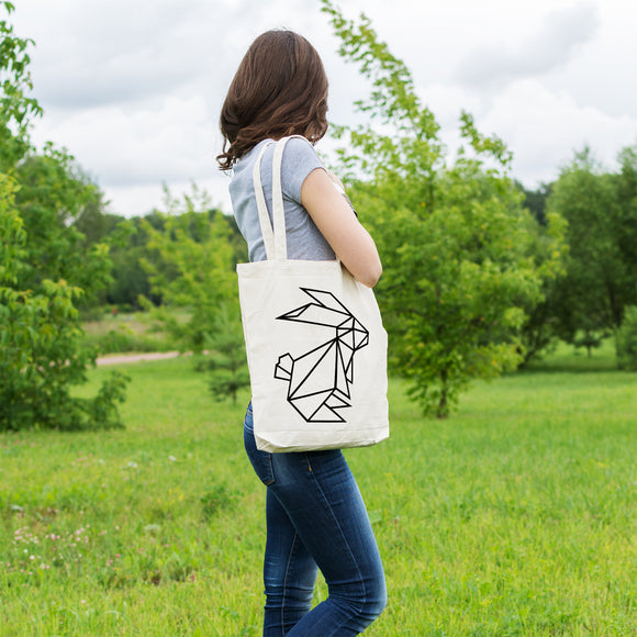 Geometric Bunny Rabbit | 100% Cotton Tote Bag | Tote Bag | Adnil Creations