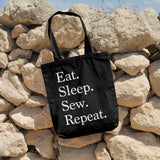 Eat. Sleep. Sew. Repeat. | 100% Cotton Tote Bag