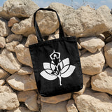 Yoga pose with lotus flower | 100% Cotton Tote Bag | Tote Bag | Adnil Creations