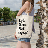 Eat. Sleep. Knit. Repeat. | 100% Cotton Tote Bag | Tote Bag | Adnil Creations