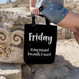 Friday is my second favourite F word | 100% Cotton Tote Bag | Tote Bag | Adnil Creations