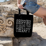 Shopping is cheaper than therapy | 100% Cotton Tote Bag | Tote Bag | Adnil Creations