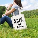 One cat short of crazy | 100% Cotton Tote Bag | Tote Bag | Adnil Creations