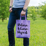 Believe achieve repeat | 100% Cotton Tote Bag | Tote Bag | Adnil Creations