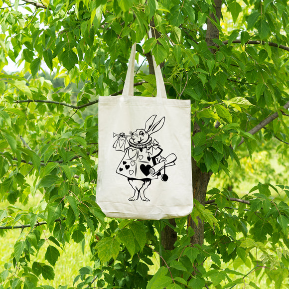 The white rabbit | 100% Cotton Tote Bag | Tote Bag | Adnil Creations