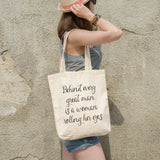 Behind every great man is a woman rolling her eyes | 100% Cotton Tote Bag | Tote Bag | Adnil Creations