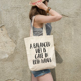 A balanced diet is cake in both hands | 100% Cotton Tote Bag | Tote Bag | Adnil Creations