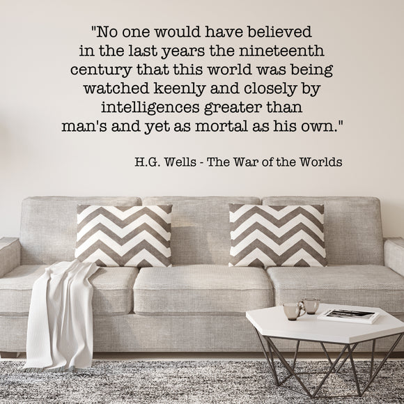 The war of the worlds | HG Wells | Wall Quote