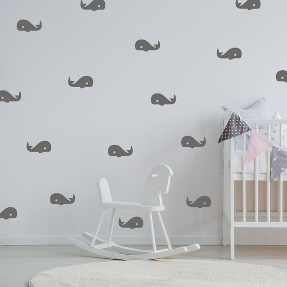 Set of 50 Whale Wall Stickers | 5 sizes available to choose from | Repeating Pattern | Adnil Creations