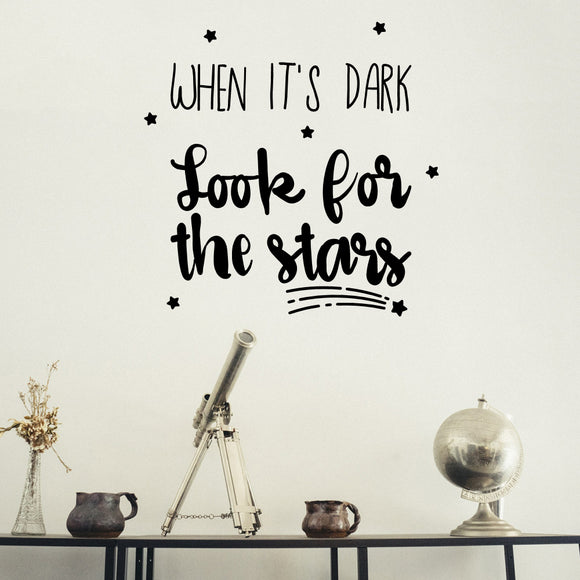 When it's dark look for the stars | Wall Quote | Wall Quote | Adnil Creations