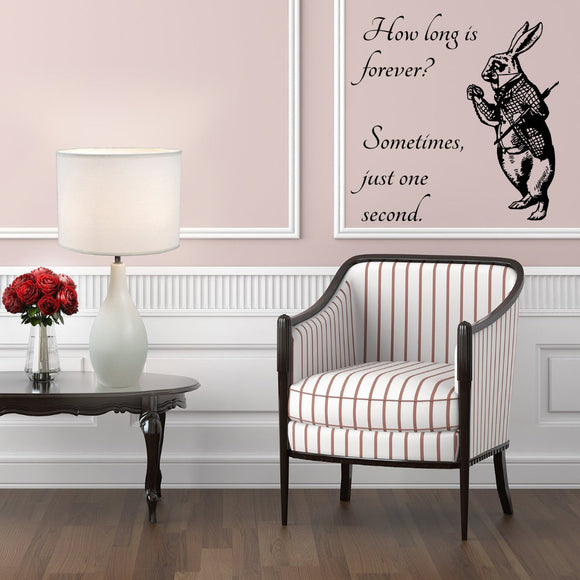 White Rabbit - How long is forever? | Wall Decal | Wall Art | Adnil Creations
