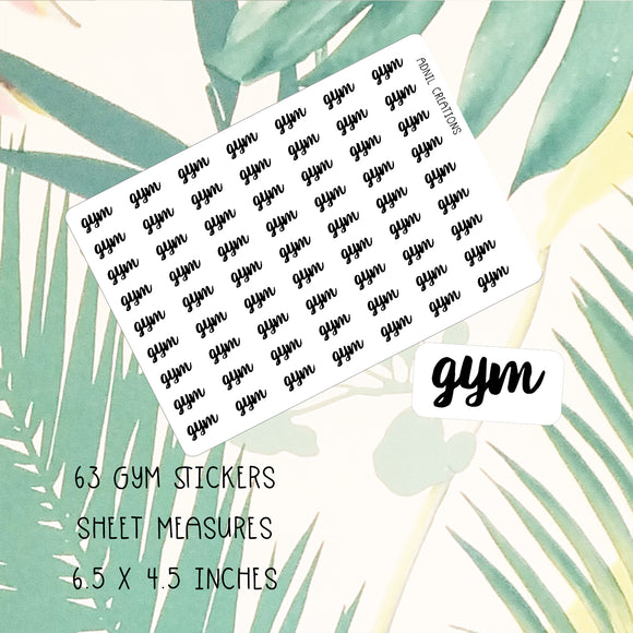 Gym Mono | Planner Stickers | planner stickers | Adnil Creations