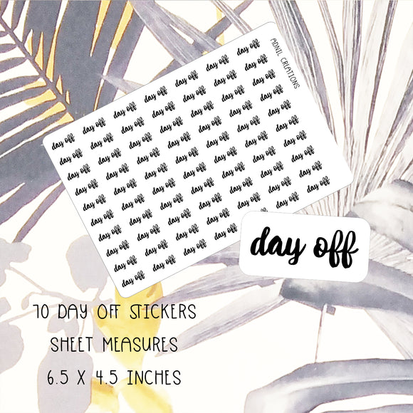 Day Off Mono | Planner Stickers | planner stickers | Adnil Creations