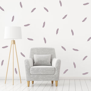 Set of 50 Feather Wall Stickers | 4 sizes available to choose from | Repeating Pattern | Adnil Creations
