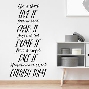 Life is short live it | Wall Quote | Wall Quote | Adnil Creations