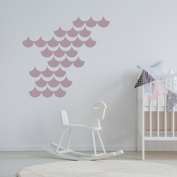 Set of 50 Mermaid Scales Wall Stickers | 4 sizes available to choose from