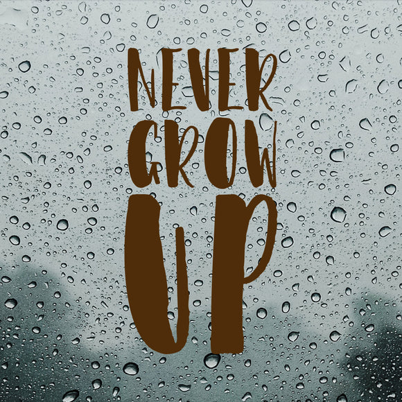 Never grow up | Bumper Sticker | Bumper Sticker | Adnil Creations