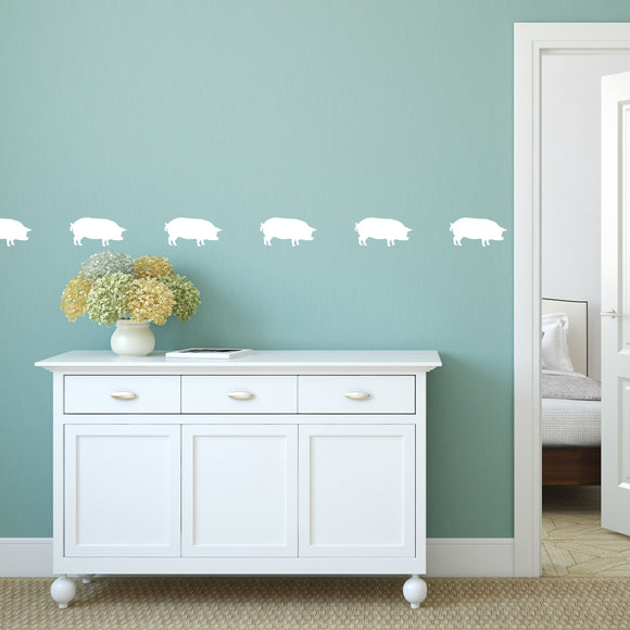 Set of 50 Pig Wall Stickers | 5 sizes available to choose from | Repeating Pattern | Adnil Creations