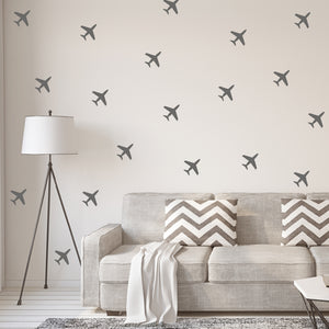Set of 50 Aeroplane Wall Stickers | 5 sizes available to choose from | Repeating Pattern | Adnil Creations