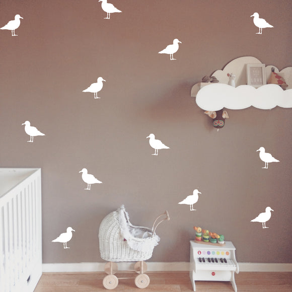 Set of 50 Seagull Wall Stickers | 3 sizes available to choose from | Repeating Pattern | Adnil Creations