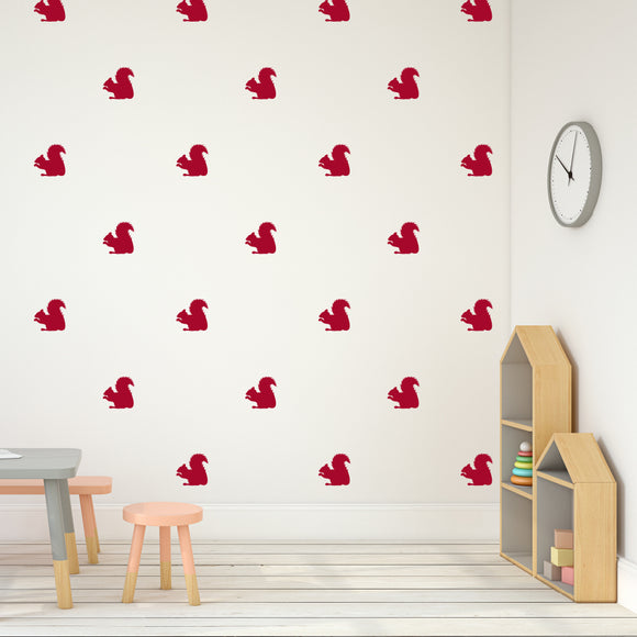 Set of 50 Squirrel Wall Stickers | 5 sizes available to choose from | Repeating Pattern | Adnil Creations
