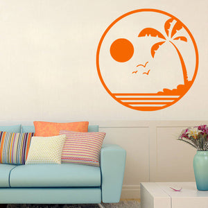 Tropical Beach at Sunset | Wall Decal