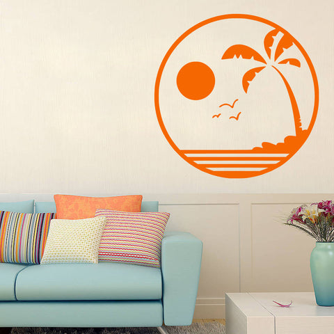 Tropical Beach at Sunset wall decal