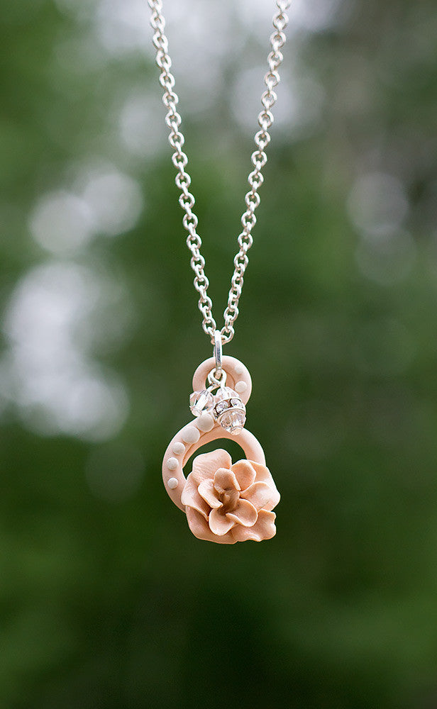 *Sold* Crystal Charm Rose Necklace