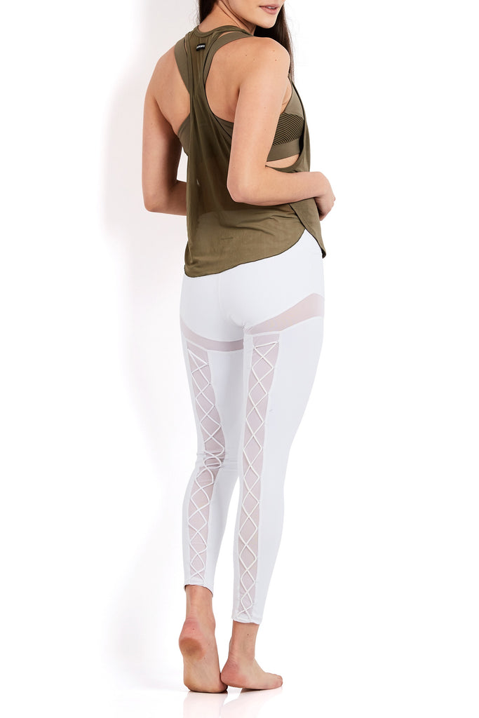 PENELOPE LACE-UP LEGGING - WHITE