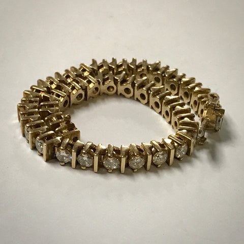Ladies 14KY bar link diamond line bracelet 6ctdw