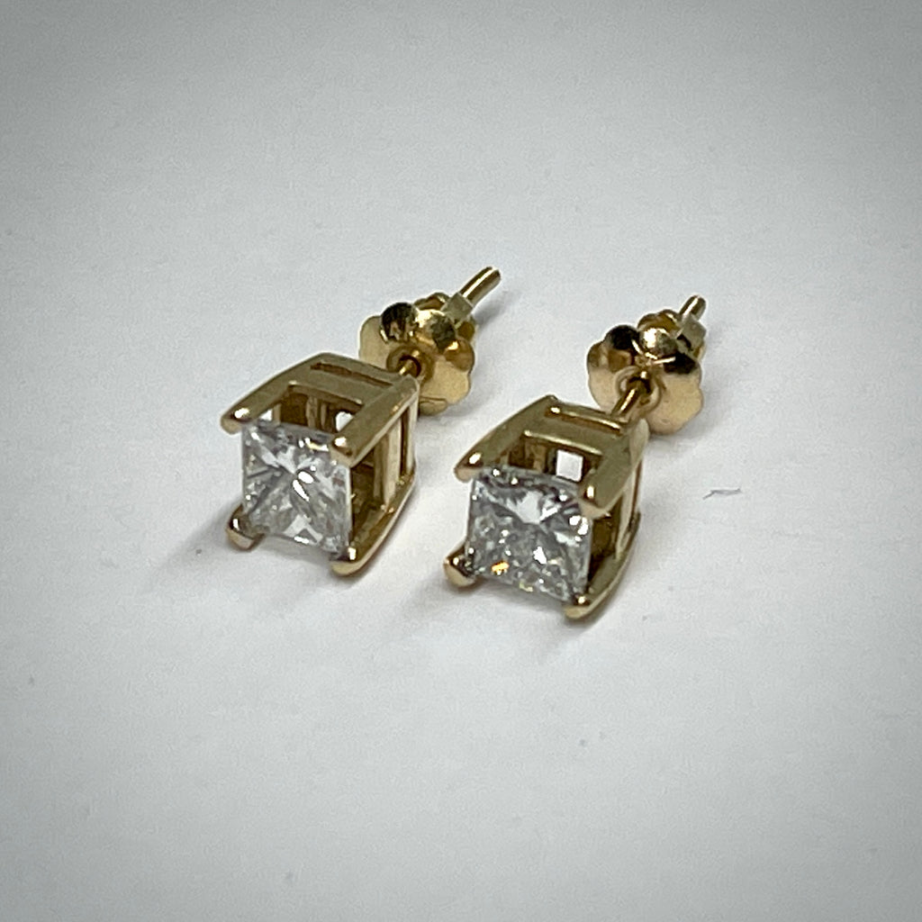 Ladies 14KY princess cut 1 ctdw solitaire earrings