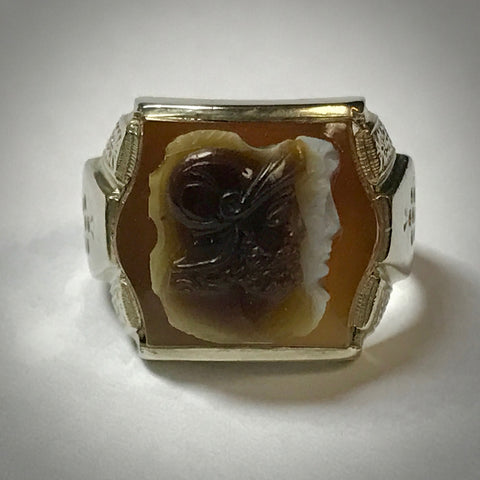 Mens 10KW Art Deco stone cameo ring 3 layers and 2 colors